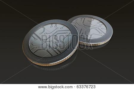 Digital Silver Coins Black
