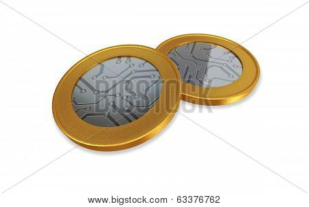 White Digital Gold Silver Max Coins
