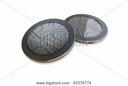 White Digital Silver Coins
