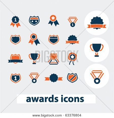 award, victory, win icons, signs, elements set, vector