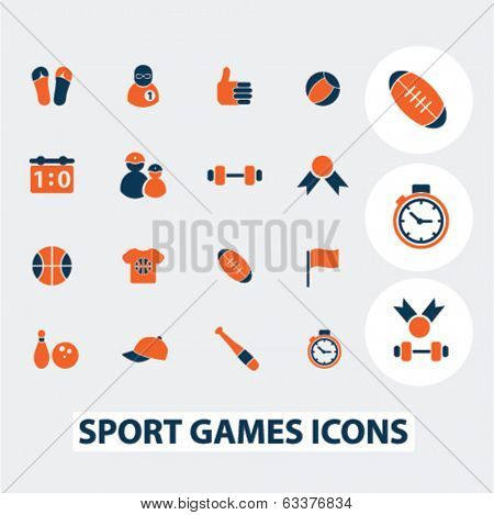 sport games icons, signs, elements set, vector