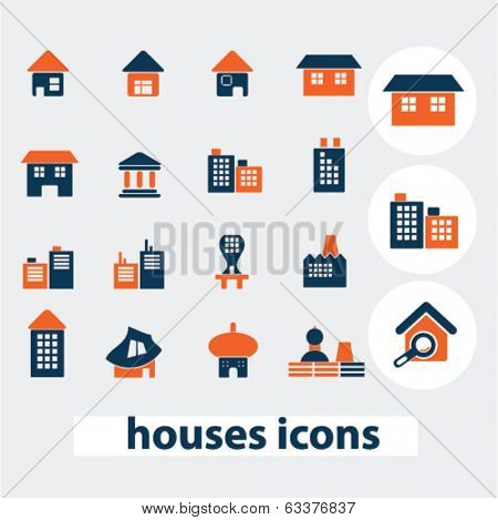 house, home, building icons, signs, elements set, vector