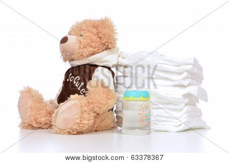 Child Diapers Baby Feeding Bottle Teddy Bear Toy