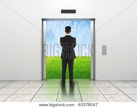Man And Modern Elevator