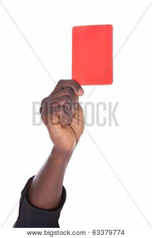 Person Showing Red Card
