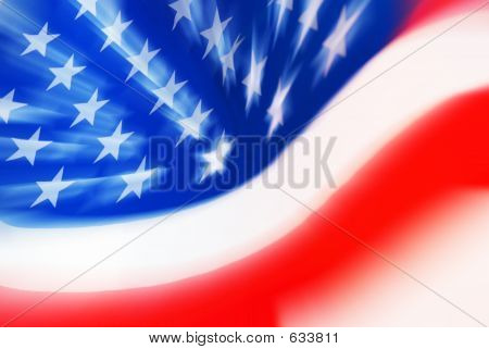 Zooming USA Flag Close Up