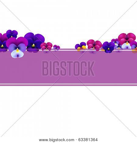 Violet Banner With Flowers With Gradient Mesh, Vector Illustration