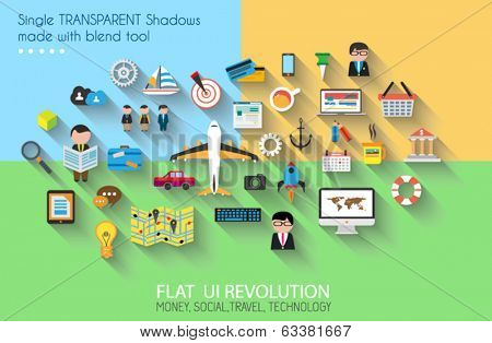 Flat Style UI Icons to use for your business project, marketing promotion, mobile advertising, research and analytics.