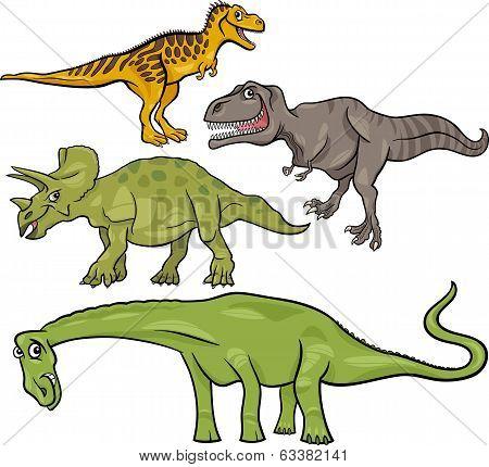 Prehistoric Dinosaurs Cartoon Set