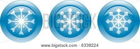 Three blue buttons with snowflakes