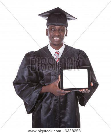 Graduation Man Holding Tablet Pc