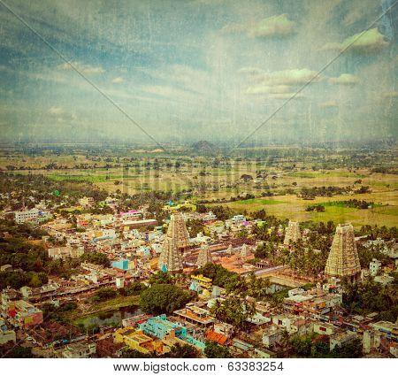 Vintage retro hipster style travel image of Lord Bhakthavatsaleswarar Temple with grunge texture overlaid, Thirukalukundram (Thirukkazhukundram), near Chengalpet. Tamil Nadu, India