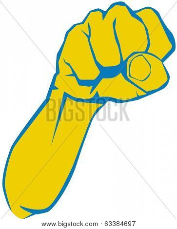 Illustration of angry man hand, fist, elbow