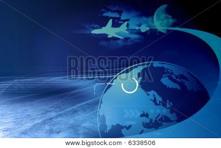 Earth and aeroplane