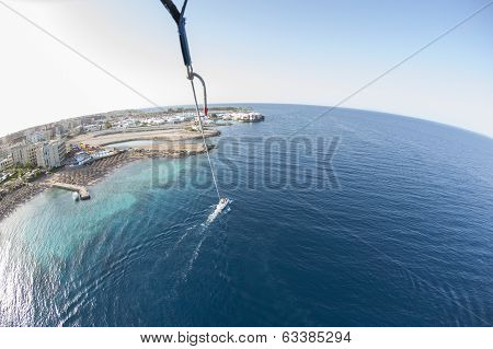 Aerial View Of Tropical Resort From Parasailing