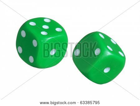 Green dices on white background.Throwing dices.