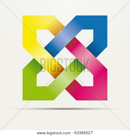 Abstract square knotted ribbons vector design element. Multicolored Intertwined hexagon shapes.