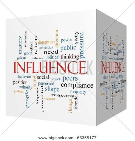 Influence 3D Cube Word Cloud Concept