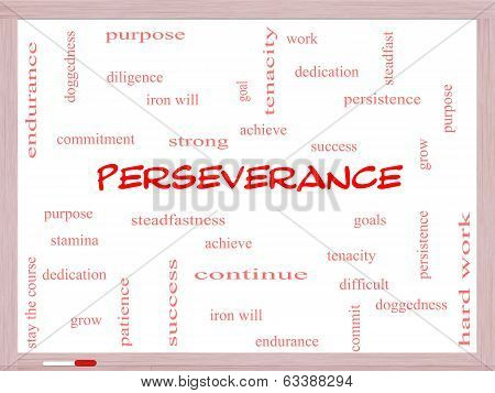 Perseverance Word Cloud Concept On A Whiteboard