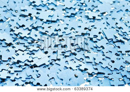 Pile Of Disassembled Blue Puzzle Pieces