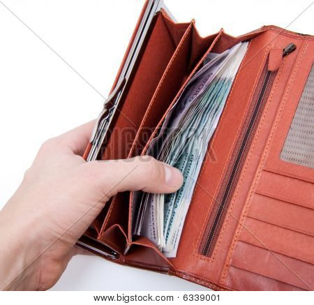 Orange Wallet With Money