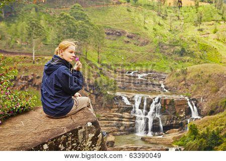 Resting Near Waterfall
