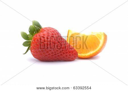 Strawberries And Tangerine Isolated On White Background
