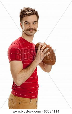 Young Casual Football Player