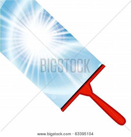 Illustration of window cleaning background with squeegee