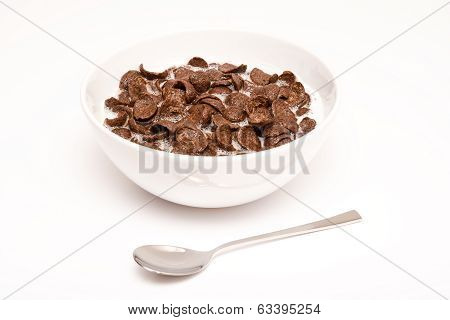 Morning Breakfast Bowl With Cereals And Spoon