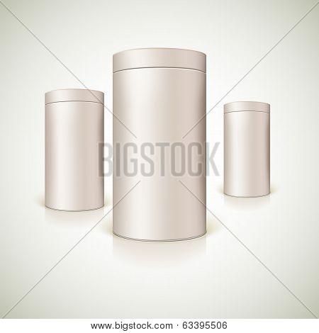Set of round tins, packaging.