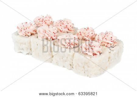 Roll with cream cheese, tobiko caviar at white