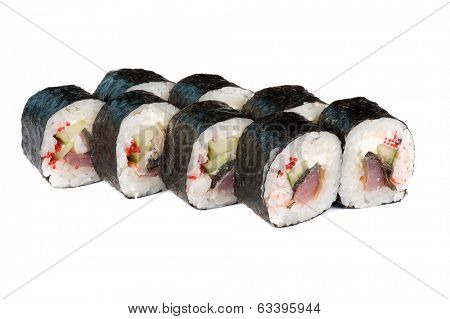 Roasted roll with tuna fish, cucumber and tobiko on white