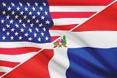 Series Of Ruffled Flags. Usa And Dominican Republic.