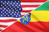 picture of ethiopia  - Flags of USA and Federal Democratic Republic of Ethiopia blowing in the wind - JPG