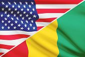 Series Of Ruffled Flags. Usa And Republic Of Guinea.