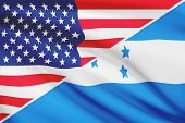 Series Of Ruffled Flags. Usa And Republic Of Honduras.