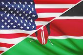 Series Of Ruffled Flags. Usa And Republic Of Kenya.