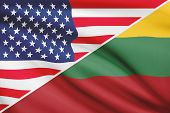 Series Of Ruffled Flags. Usa And Republic Of Lithuania.