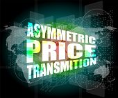 picture of asymmetrical  - business concept asymmetric price transmition digital touch screen interface - JPG