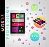 Set of User Interface Elements. Technology Flat Design Style. Mobile Phone Template. Infographic Ele