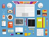 picture of tablet  - Set of Flat Design Icons - JPG