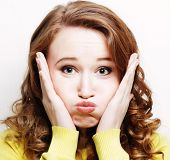 foto of wacky  - Woman making a funny face - JPG