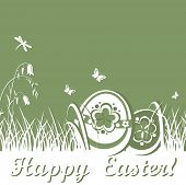 Spring card with easter eggs. Raster copy