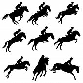 picture of horse-riders  - Set of a jumping horse with rider silhouettes - JPG