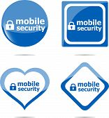 Mobile Security Stickers Label Tag Set, Web Icon