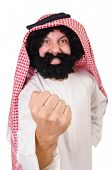 stock photo of hirsutes  - Funny threatening  arab man isolated on white - JPG