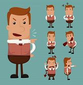 stock photo of caricatures  - Set of businessman emotion eps10 vector format - JPG
