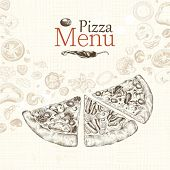 Pizza menu restaurant, hand-drawn illustration.
