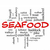 stock photo of bluegill  - Seafood Word Cloud Concept in red caps with great terms such as lobster haddock shrimp and more - JPG